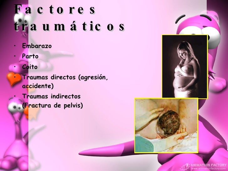 Factores traumáticos <ul><li>Embarazo </li></ul><ul><li>Parto </li></ul><ul><li>Coito </li></ul><ul><li>Traumas directos (...