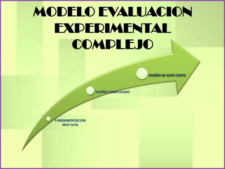 MODELO EVALUACION  EXPERIMENTAL    COMPLEJO                                       DISEÑO DE ALTO COSTO                   D...