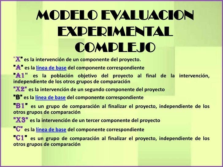 """MODELO EVALUACION           EXPERIMENTAL             COMPLEJO""""X"""" es la intervención de un componente del proyecto.""""A"""" es l..."""