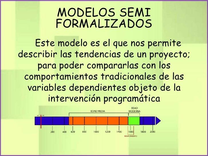 MODELOS SEMI        FORMALIZADOS    Este modelo es el que nos permitedescribir las tendencias de un proyecto;    para pode...