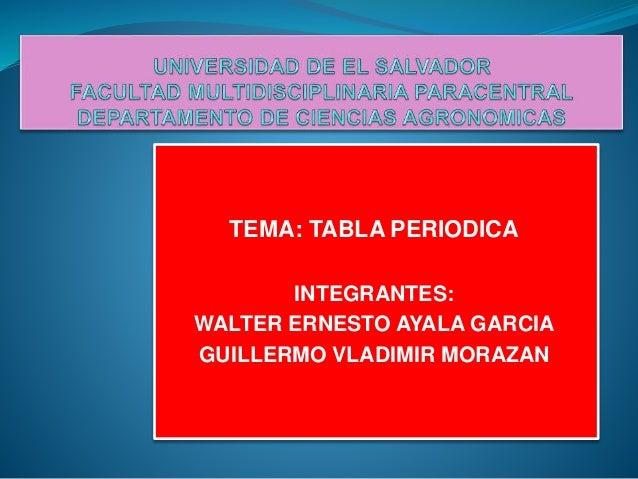 Tabla periodica tema tabla periodica integrantes walter ernesto ayala garcia guillermo vladimir morazan urtaz Choice Image