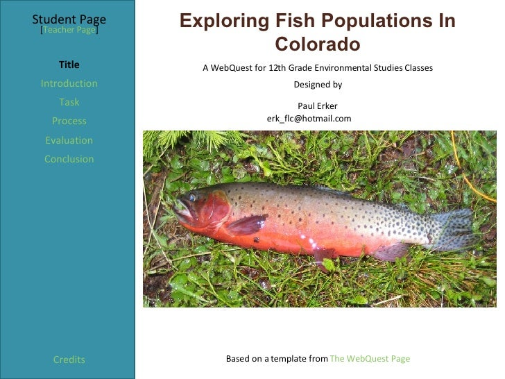 Exploring Fish Populations In Colorado Student Page Title Introduction Task Process Evaluation Conclusion Credits [ Teache...
