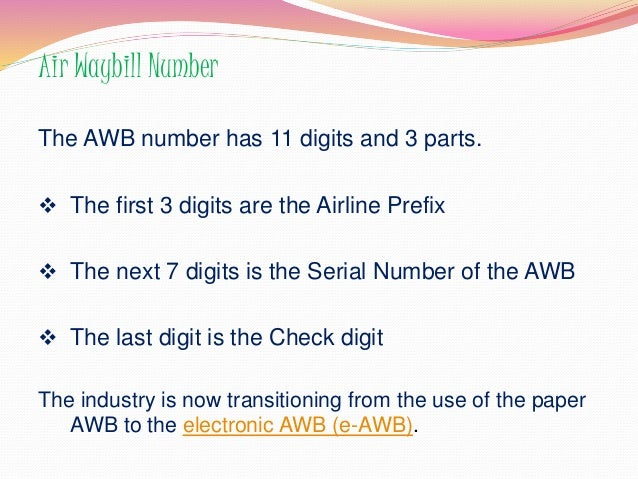the first air way bill format