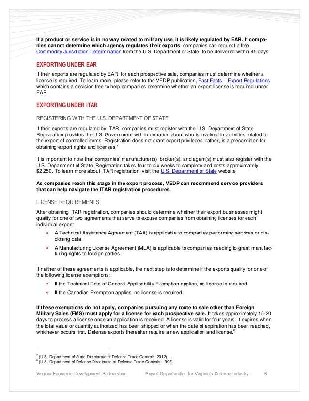 Export Opportunities For Virginias Defense Industry