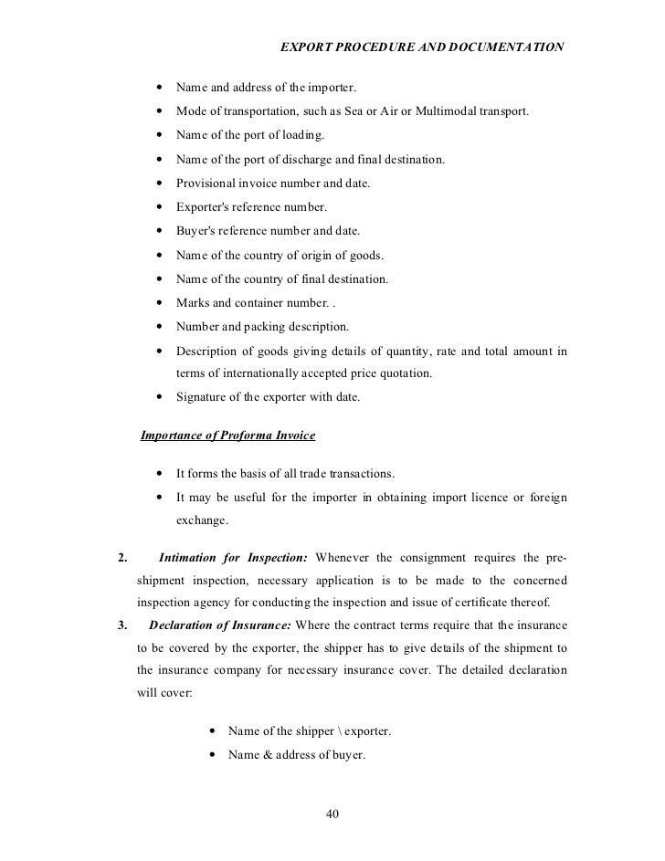 Export procedureanddocumentationprojectreporton – Country of Origin Letter