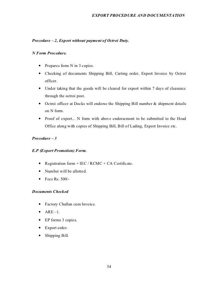 export procedure and documentation project report on