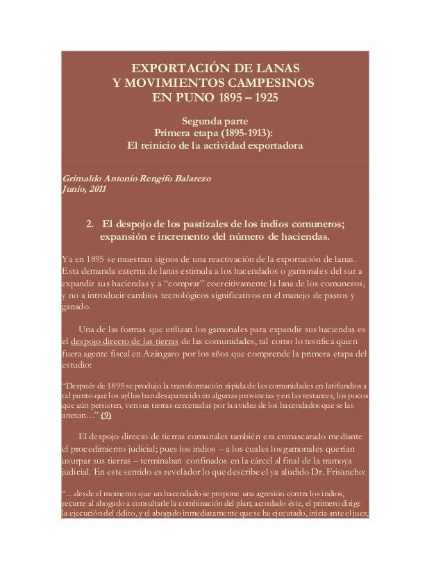 EXPORTACIÓN DE LANAS  Y MOVIMIENTOS CAMPESINOS  EN PUNO 1895 – 1925  Segunda parte  Primera etapa (1895-1913):  El reinici...