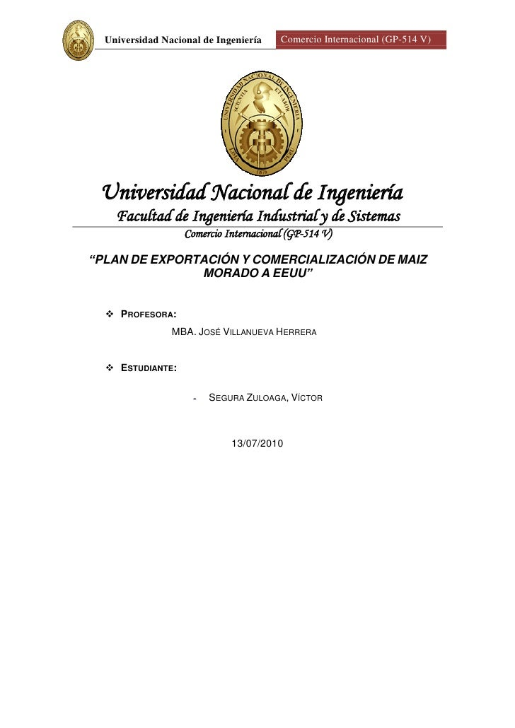 Universidad Nacional de Ingeniería    Comercio Internacional (GP-514 V)      Universidad Nacional de Ingeniería     Facult...