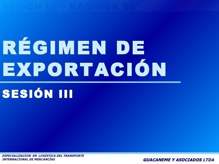 GUACANEME Y ASOCIADOS LTDA RÉGIMEN DE EXPORTACIÓN SESIÓN III