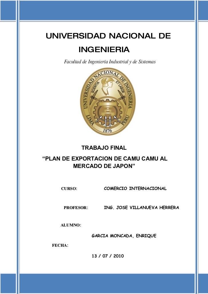 UNIVERSIDAD NACIONAL DE               INGENIERIA       Facultad de Ingeniería Industrial y de Sistemas                    ...