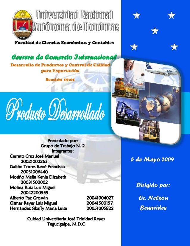 Facultad de Ciencias Económicas y ContablesCarrera de Comercio InternacionalDesarrollo de Productos y Control de Calidad  ...