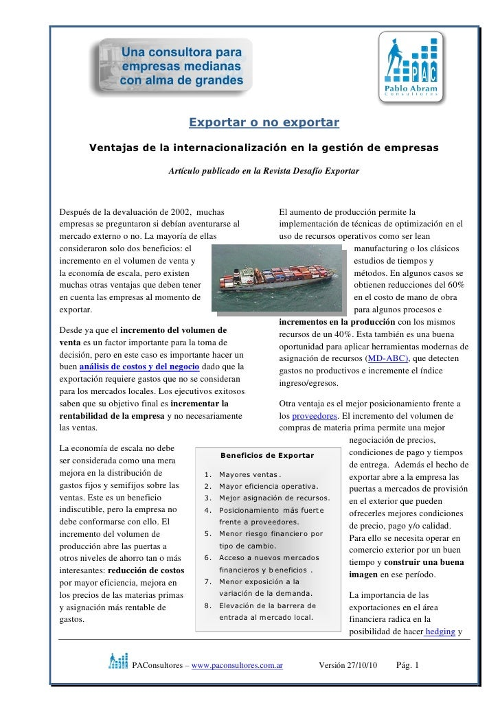 Exportar o no exportar        Ventajas de la internacionalización en la gestión de empresas                             Ar...