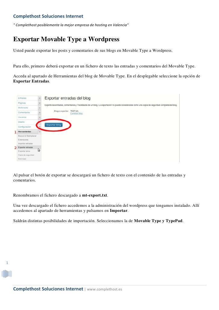 """Complethost Soluciones Internet     """" Complethost posiblemente la mejor empresa de hosting en Valencia""""       Exportar Mov..."""