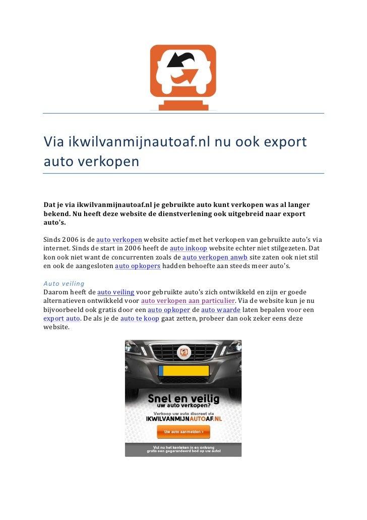 Export Auto Verkopen Via Ikwilvanmijnautoaf