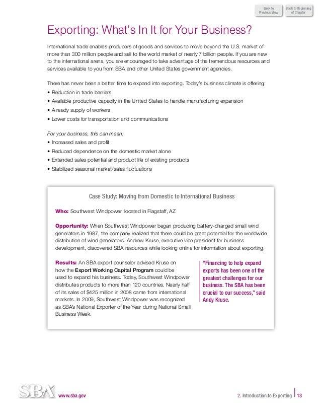 Sba export business planner