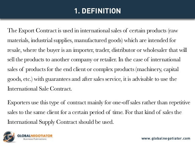 Export Contract  Contract Template And Sample
