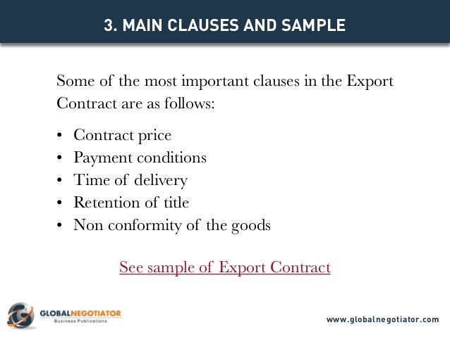 EXPORT CONTRACT Contract Template and Sample – Export Agreement Sample