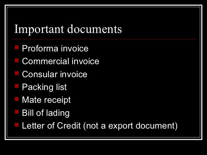 ExportDocumentation