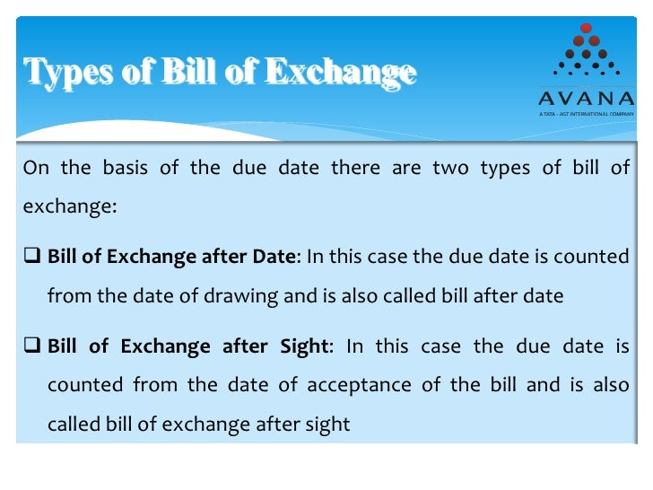 Export documentations – Bill of Exchange Sample
