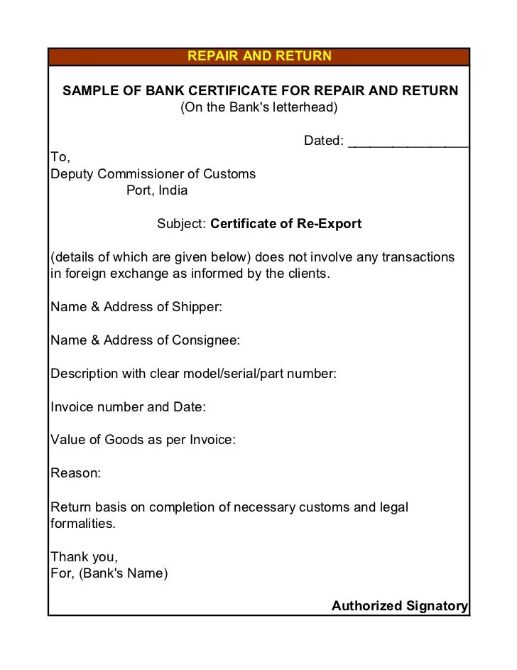 Export documents repair and return sample of bank certificate yadclub Image collections