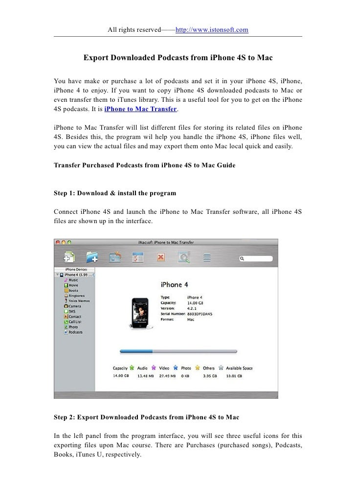 Export downloaded podcasts from iphone 4s to mac