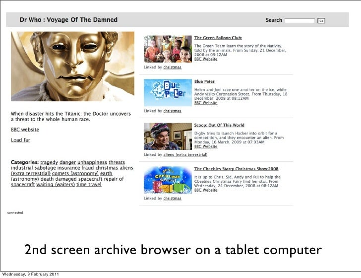 2nd screen archive browser on a tablet computerWednesday, 9 February 2011
