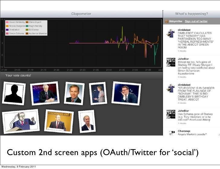 Custom 2nd screen apps (OAuth/Twitter for 'social')Wednesday, 9 February 2011