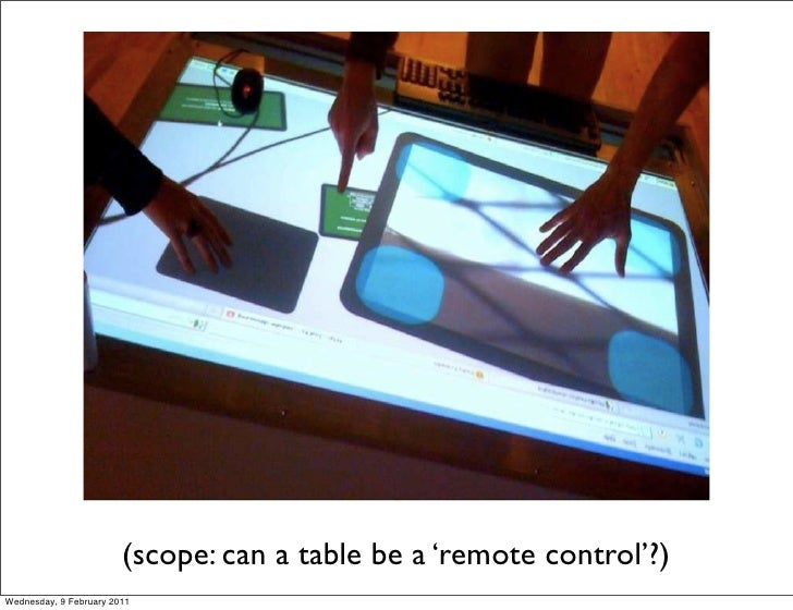 (scope: can a table be a 'remote control'?)Wednesday, 9 February 2011