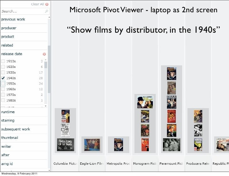 """Microsoft Pivot Viewer - laptop as 2nd screen                             """"Show films by distributor, in the 1940s""""Wednesda..."""