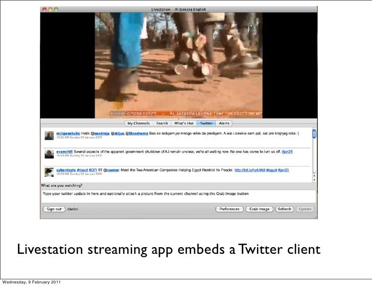Livestation streaming app embeds a Twitter clientWednesday, 9 February 2011