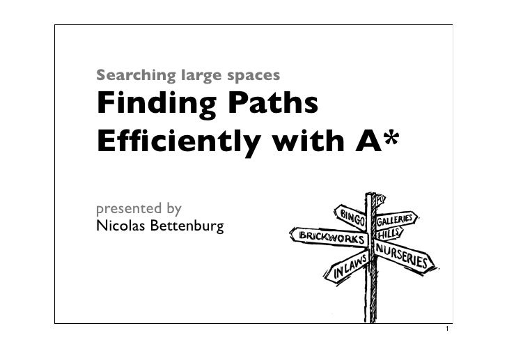 Searching large spaces  Finding Paths Efficiently with A* presented by Nicolas Bettenburg                              1