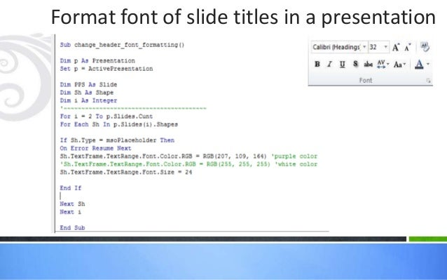 VBA in Excel & PowerPoint