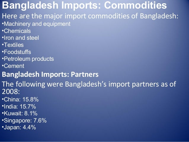 export import sitution of bangladesh Chapter 7: bangladesh exports to india: composition, trends and prospects under an fta as discussed previously, bangladesh's exports to india, after increasing quite rapidly in the early.