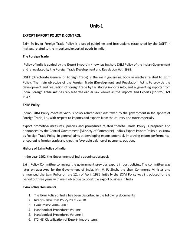Unit-1EXPORT IMPORT POLICY & CONTROLExim Policy or Foreign Trade Policy is a set of guidelines and instructions establishe...