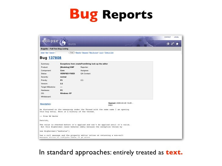 Extracting Structural Information from Bug Reports. Slide 2