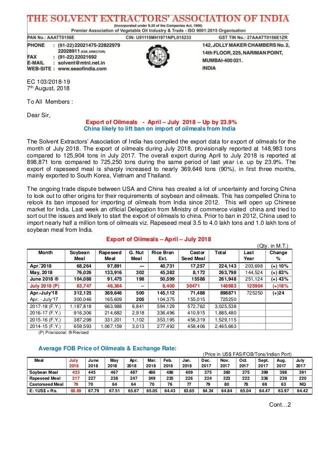 Export of oilmeals july