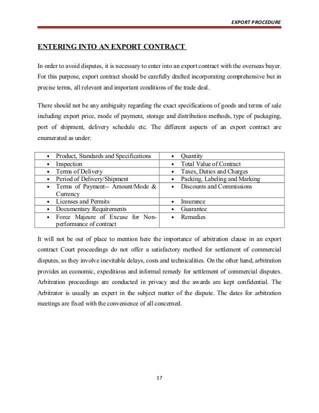 Export procedure – Export Contract Sample