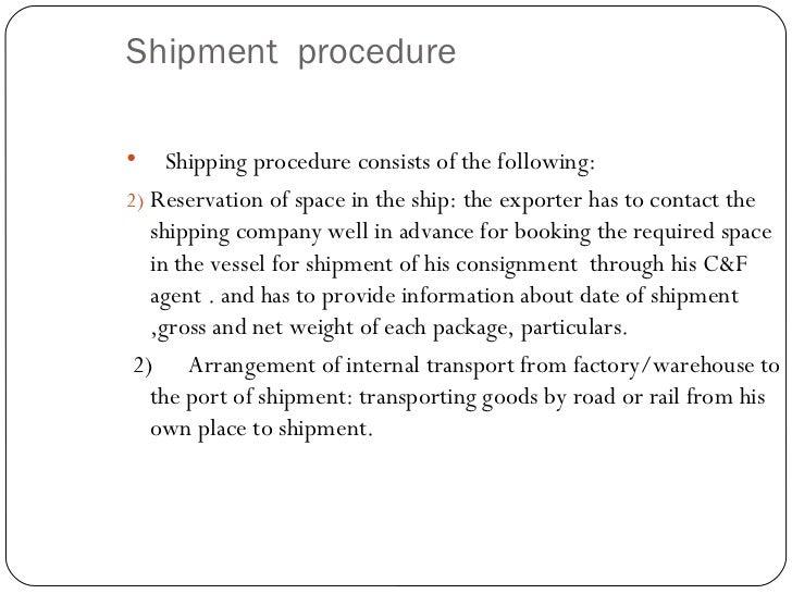 pre shipment procedure