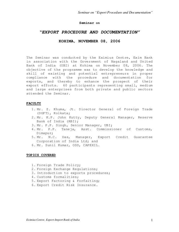 "Seminar on ""Export Procedure and Documentation""                                          Seminar on          ""EXPORT PROCE..."
