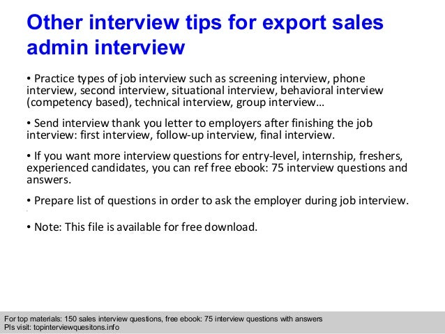 Export sales admin interview questions and answers