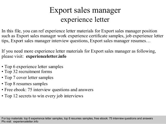Export sales manager experience letter 1 638gcb1409104551 interview questions and answers free download pdf and ppt file export sales manager experience yadclub Image collections
