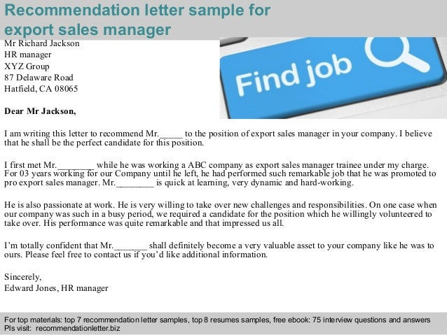 export sales manager recommendation letter