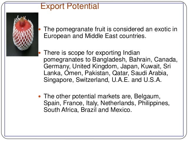 Export scenario of fruit in India