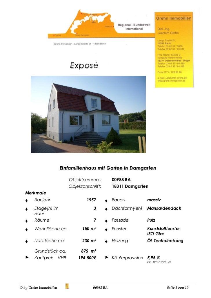 Expos é                        Einfamilienhaus mit Garten in Damgarten                              Objektnummer:         ...
