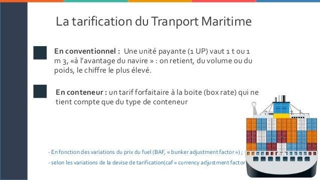 Le transport maritime for Tarif conteneur maritime