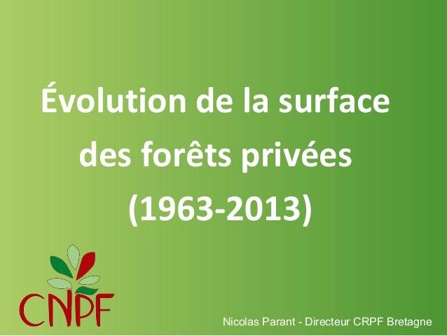 Évolution de la surface des forêts privées (1963-2013) Nicolas Parant - Directeur CRPF Bretagne