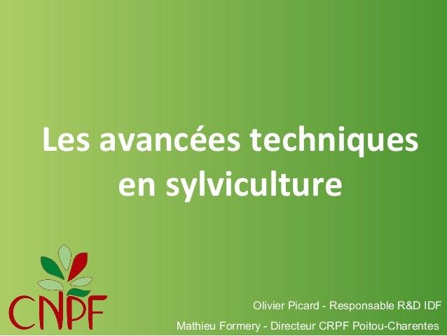 Les avancées techniques en sylviculture  Olivier Picard - Responsable R&D IDF Mathieu Formery - Directeur CRPF Poitou-Char...