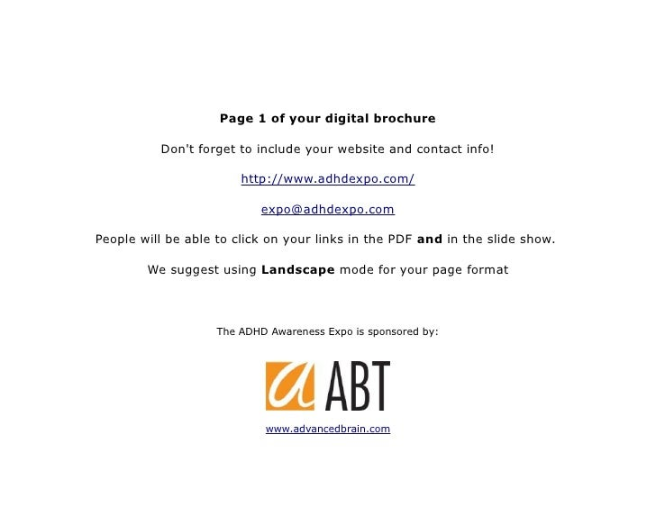 Page 1 of your digital brochure            Don't forget to include your website and contact info!                         ...