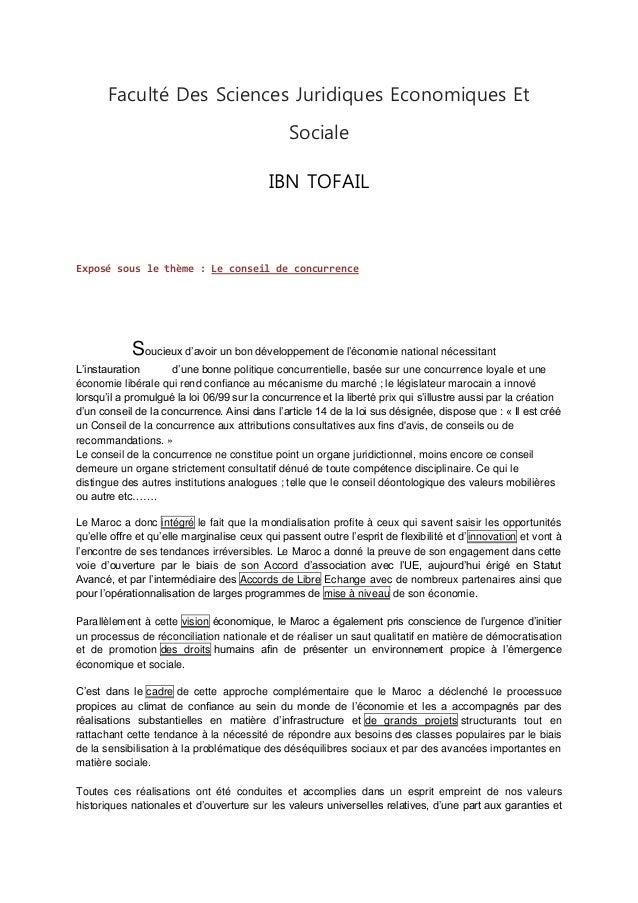 Faculté Des Sciences Juridiques Economiques Et Sociale IBN TOFAIL Exposé sous le thème : Le conseil de concurrence Soucieu...