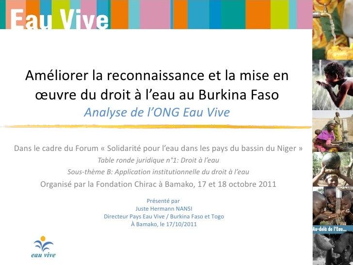 Améliorer la reconnaissance et la mise en œuvre du droit à l'eau au Burkina Faso Analyse de l'ONG Eau Vive Dans le cadre d...